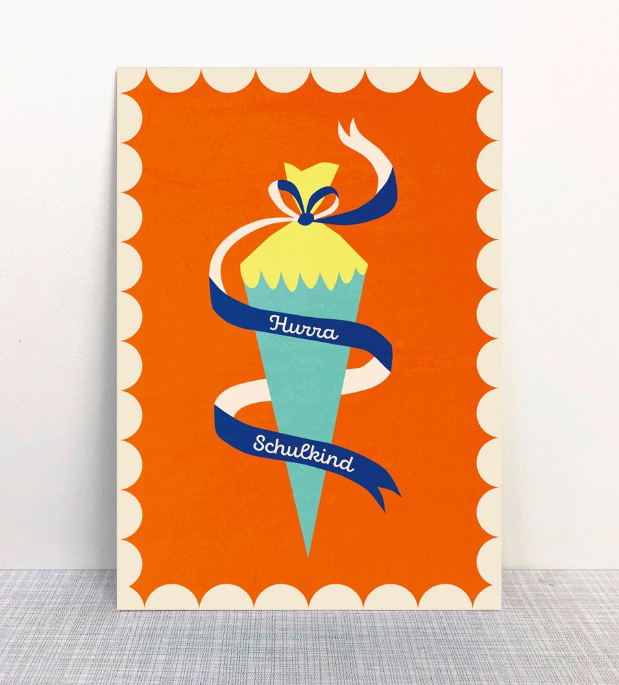 Monimari Postkarte Ökodruck Blauer Engel Papier Einschulung Schultüte Zuckertüte Schuleinfürhung